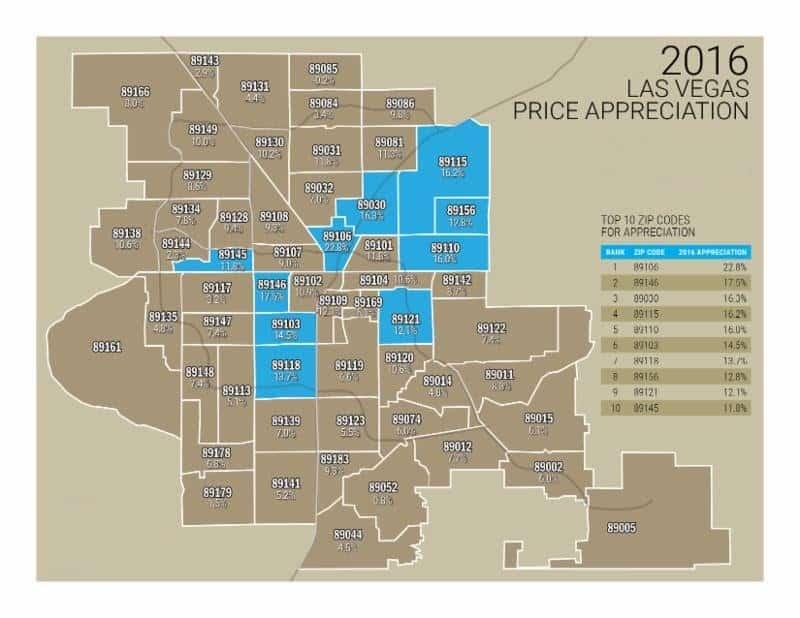 Home Appreciation Zip Code Map 2016 7025088262